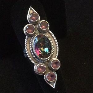 Majestic Genuine Mystic Topaz & Amethyst Ring